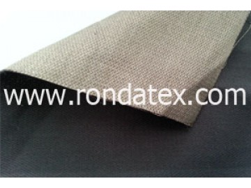The fabric is made of silver fiber and cotton,one side is pure silver fiber while the other side is cotton .